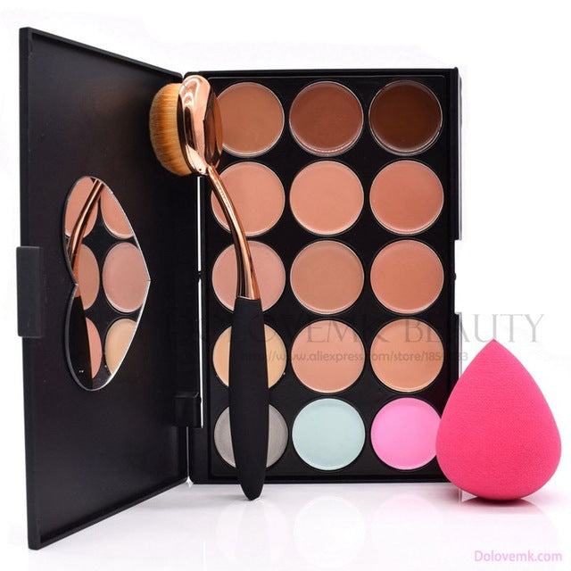 Dolovemk Pro Contour Palette Makeup Set Face Concealer 15 Colors + Oval Brush+ Egg Blending Makeup Sponge