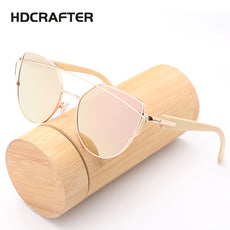 HDCRAFTER Cat Eye Wood Bamboo Sunglasses Women Fashion Mirror Sunglasses Women Brand Designer HD Glasses
