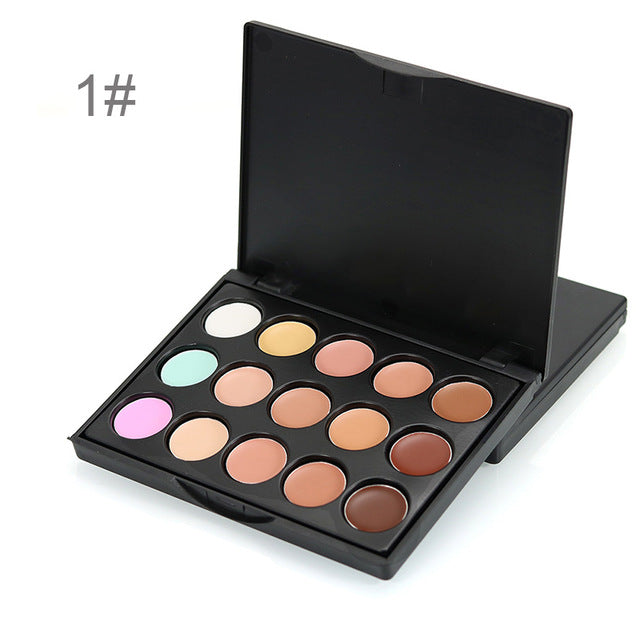 15 Color Concealer Base Makeup Cream Natural Brighten Concealer Palette  Pores Freckle Removing