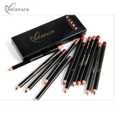 Niceface Pro 12pcs/set Colors Waterproof Lip Liner Pencil Long-lasting Eyebrow Eye Lip Cosmetics Trendy Beauty Makeup Kits