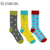 5 Pair/Lot Cotton Men Socks Spring Fall Plus Size Brand Quality Business Compression Coolmax Pattern Dress Happy Male Crew Socks