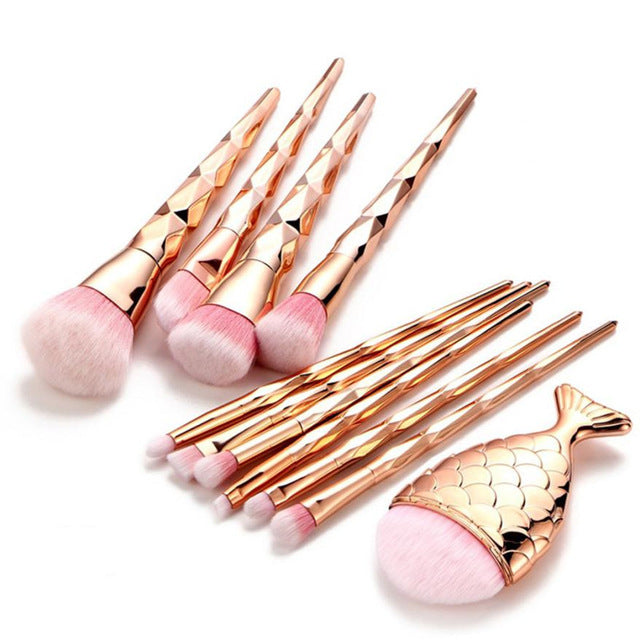 11Pcs Diamond Rose Gold Makeup Brush Set Mermaid Fishtail Shaped Foundation Powder Cosmetic Brushes Set Kits Tools pincel sereia