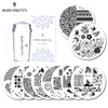 BORN PRETTY 10 Pcs Stamping Plate with Clear Jelly Stamper Set Flower Lace Round Nail Art Template Image Plate Kit