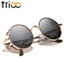 TRIOO Round Steampunk Sunglasses Men Polarized Driving Sun Glasses for Men Metal Carving Punk Shades Driver Vintage Glasses Male