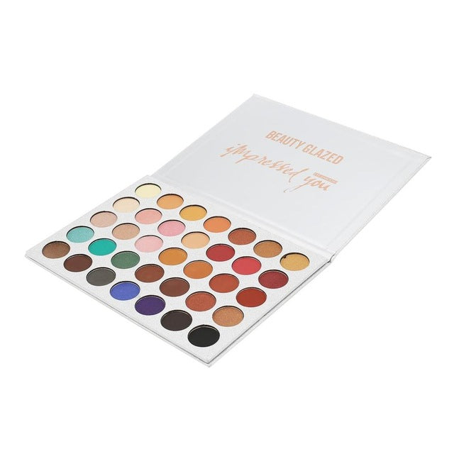 BEAUTY GLAZED 35 Colors Pressed Powder Eye Shadow Palette Natural Colors Beauty Glazed Make Up Eye Shadow Palette Cosmetics