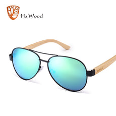 HU WOOD Aviator Sunglasses Women Sun Glasses Polarized Wood Metal Frame Sunglass Bamboo Driving Oculos De Sol Feminino GR8020