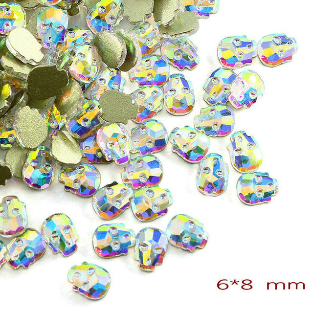 20Pcs/Pack Nail Art Rhinestones Personalised Flat Shapes Glass AB Colorful Stones For 3D Nails Art Decoration