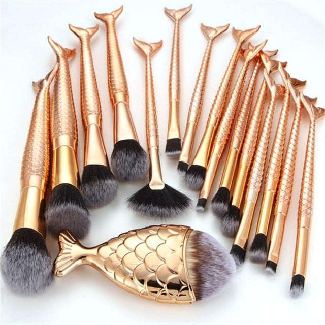 16PCS Golden Mermaid makeup brushes set Foundation Blush Cosmetic Concealer Brushes beauty pinceaux brochas para maquillaje
