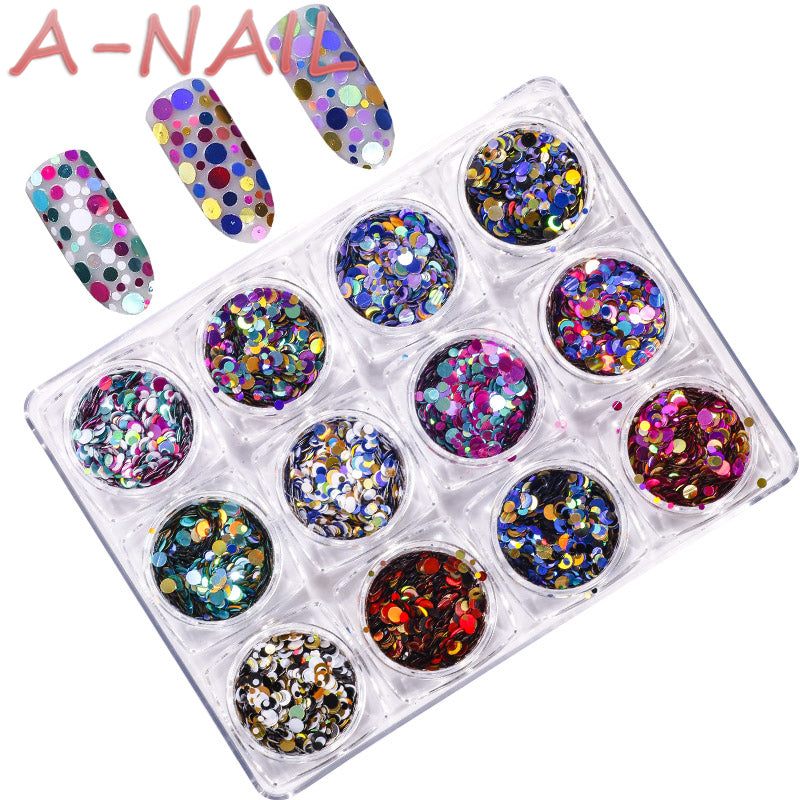 12jars/set Laser color Nail Art Glitter ROUND Shapes Confetti Sequins Acrylic Tips UV Gel BL Style Sale Shiny Ultrathin Sequins