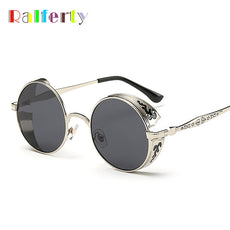 Ralferty Retro Steampunk Sunglasses Women Men Vintage Round Metal Punk Mirror Gothic Sun Glasses oculos de sol feminino 881