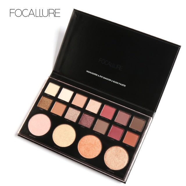 Brand Focallure Face Eyes Brighten Shimmer Glitter Eyeshadow Palette 18 Nude Colors Pigments Waterproof Matte Eye Shadow Palette