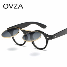 Ovza Classic Men Clamshell Sunglasses Double layer Lens Vintage Sun glasses Women Fashion Round Glasses Punk style A4