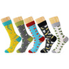 5 Pairs/Lot Men Socks Combed Cotton Brand Spring Fall Plus Size Quality Business Compression Coolmax Pattern Dress Male Socks