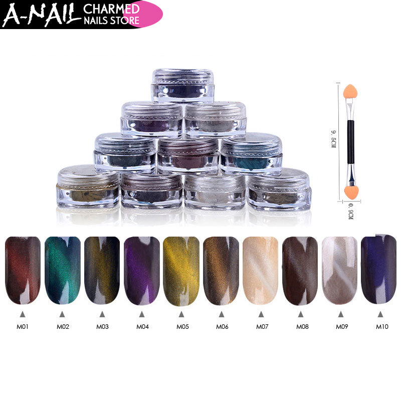 12boxes/set 1g Perfect Cat Eye Effect Magic Mirror Powder UV Gel Polish Nail Art Magnet Glitter Pigment DIY Nail Decoration