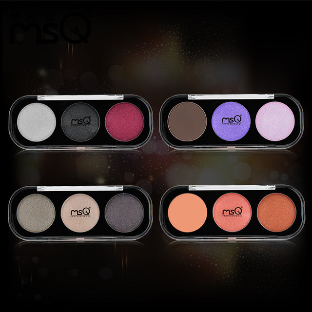 3 Color Makeup Eye Shadow Palette Bright Glitter Matte Make Up Brush Tool Set Eyeshadow Maquillage Cosmetics Women Best Selling