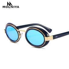 Fashion Gothic Steam Punk Glasses Brand Designer Vintage Summer Women Men Oval Steampunk Sunglasses  de sol