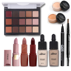 Basic Cosmetics Makup Set Including Matte Eyeshadow Lipstick Eyebrow Pencil Eyeliner Foundation Concealer  Makeup Kit Maquiagem