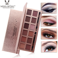 MISS ROSE Brand Makeup Eye Shadow Palette Shimmer Matte Eyeshadow Palette With Makeup Brush Professional Cosmetics 12 Colors