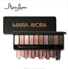 MARIA AYORA Fashion 10 Colors Shimmer Matte Eye Shadow Makeup Palette Light Eyeshadow Natural Make Up Cosmetics Set With Brush