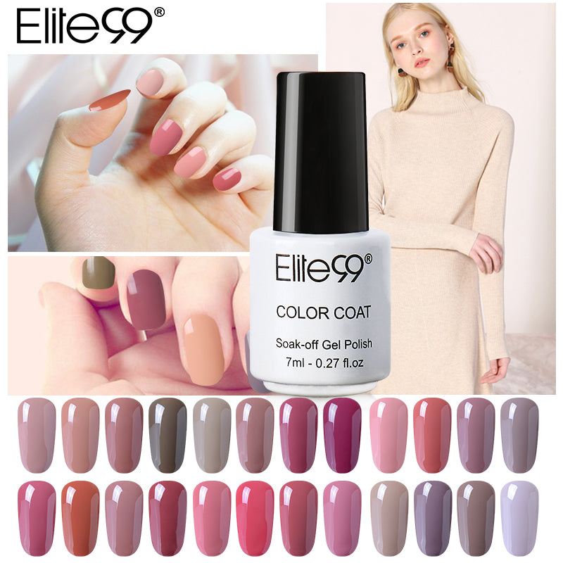 Elite99 All 24 Pieces UV Gel 7ml Nude Series Nail Varnish Long ...