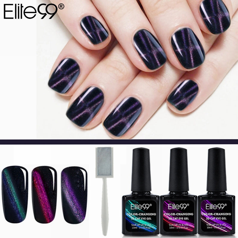 Elite99 10ml Color-Changing Cat Eye Line Gel 3pcs Soak Off UV Gel ...
