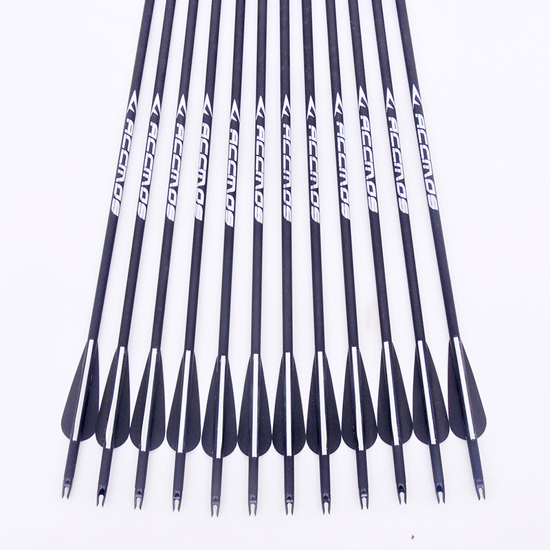 30 inch Long Archery Carbon Arrow 12/24Pcs Replaceable 500 spine,Hunting & Practice Archery for Long Compound/Recurve Bow