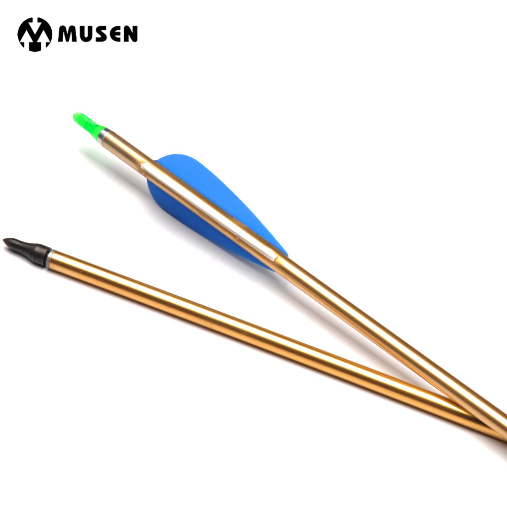 6/12/24pcs 80cm Spine 500 Dia 7.8mm Gold Aluminum Arrows Plastic Feathers with Relaceable Steel Point for Compound Recurve Bow