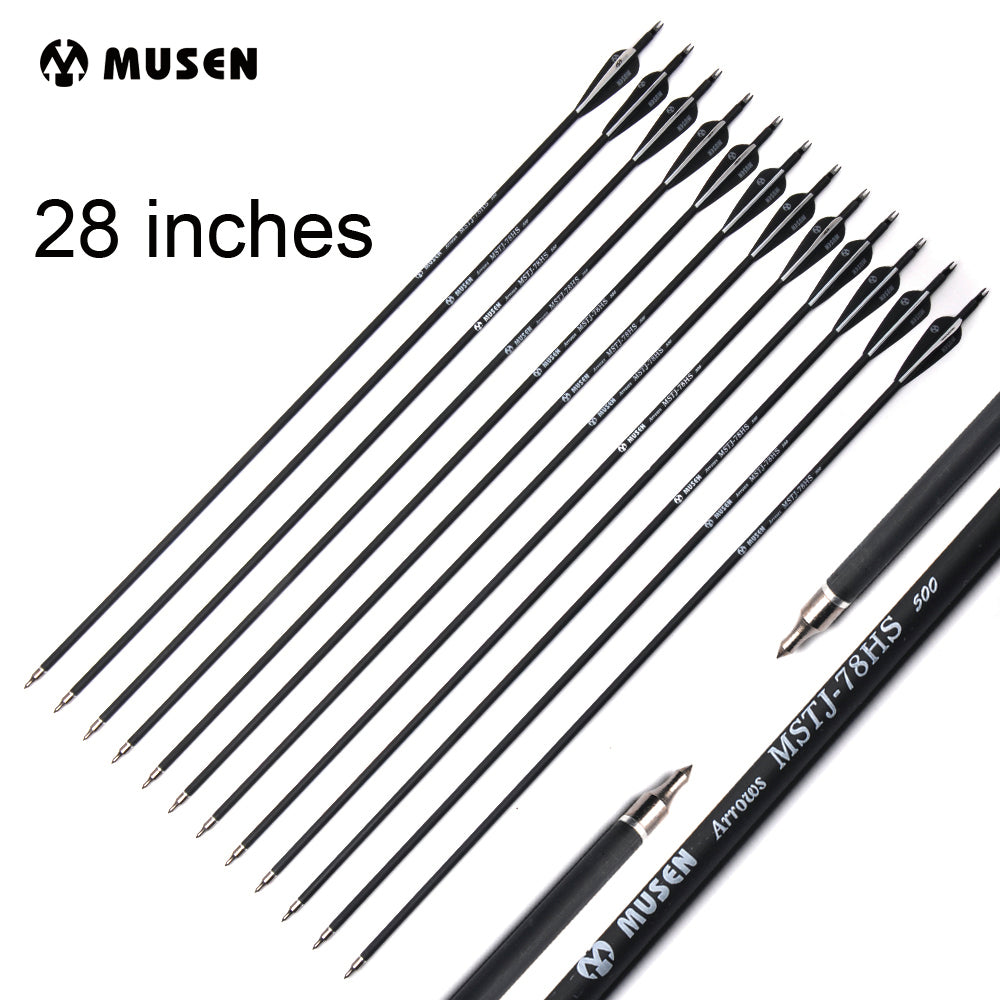 "6/12/24pc 28"" Carbon Arrow Spine 500 Diameter 7.8mm with Black and White Feathers for Recurve Compound Bows Archery Hunting"