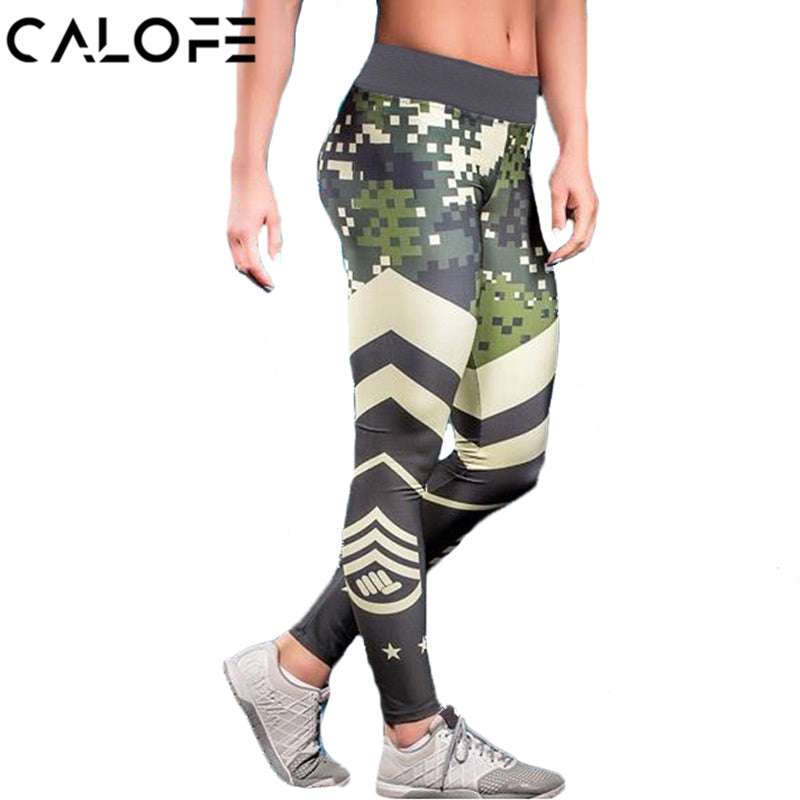 CALOFE Camouflage Women Yoga Pants Sports Exercise Tights Fitness Running Jogging Trousers Gym Slim Pants Leggings Hips Push Up