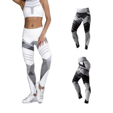 Vertvie White Black Digital Printing Leggings Hip Stretch Waist Leggings Running  Fitness Yoga Pants Breathable High Quality