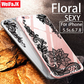 For iPhone 6 6s Case Floral Sexy Clear Silicone Soft TPU Full Cover Cases for iPhone 7 7 Plus 8 8 Plus X Case