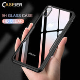 Tempered Glass Phone Case For iPhone 7 8 Cases 0.55MM Protective Glass Cover For iPhone 6 6s Plus X Capinha Accessories