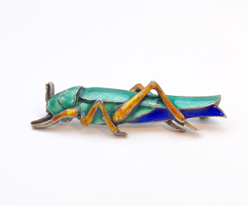 Chinese Sterling Silver/enamel Grasshopper Pin , ca.1930