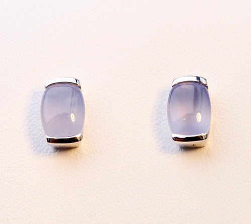 14K white gold post earrings with Calcedony