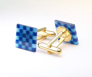 Blue Glass Checkerboard Cufflinks