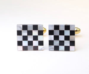 Mother-of-Pearl and Black Onyx Checkerboard Cufflinks