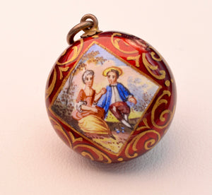 Antique gold and enamel perfume holder 18th century,  can be worn as a pendant