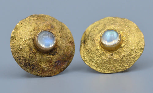14K yellow gold,hand hammered earrings bezel-set with moon stone