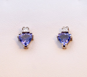 14K white gold Tanzanite stud earrings with square Diamonds
