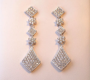 "14K white gold 1 3/4"" Diamond dangle earrings"