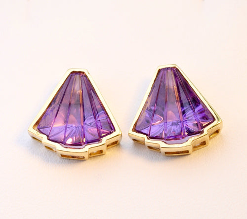 18K yellow gold, fancy-cut Amethyst earrings
