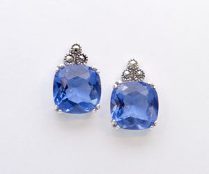 Synthetic Sapphire Post Earrings in Sterling Silver
