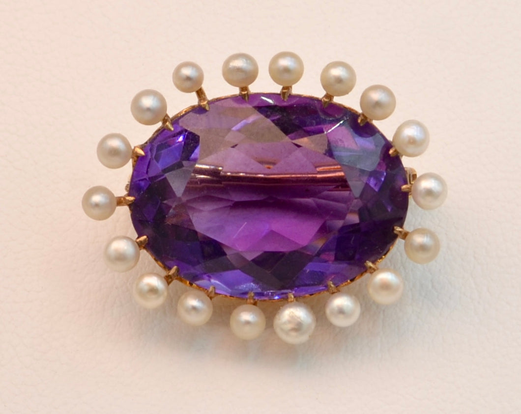 14K yellow gold Victorian brooch with Amethyst and seed pearls