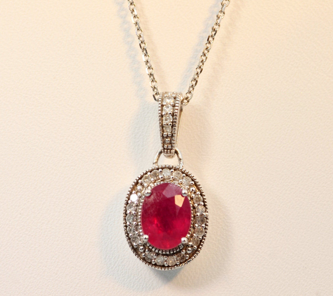 14K white gold pendant with oval Ruby framed with Diamonds with Diamond bail