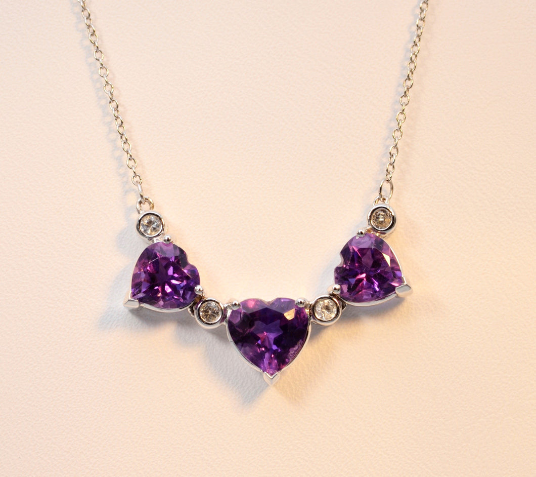 Amethyst three-heart necklace in 14K white gold