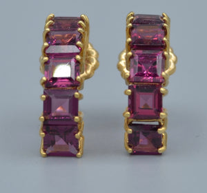 14K yellow gold hoop earring with square Rhodolite garnets