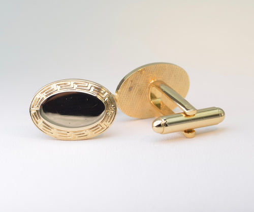 Oval Gold-Plated Cufflinks with Greek-Key Pattern