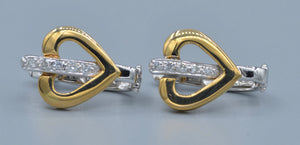 14K Yellow Gold and Diamond Heart-shaped Earrings