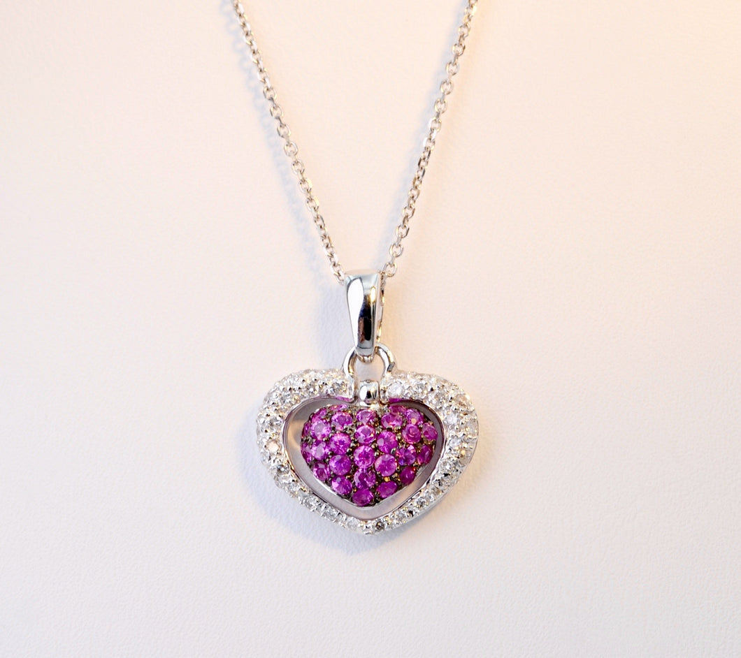 Diamond and Pink Sapphire  heart-shaped pendant in 18K White Gold
