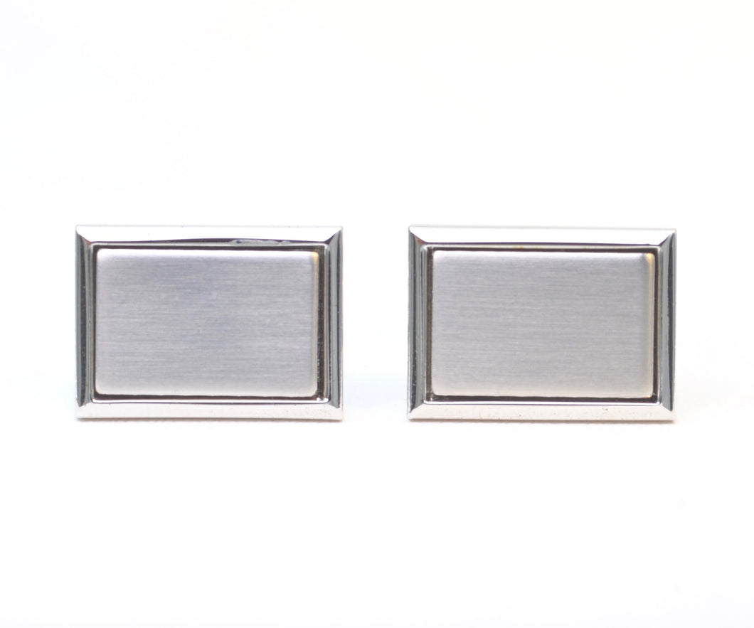 Rectangular Stainless Steel Cufflinks with Satin Finish